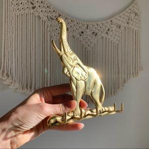 Vintage Gold Brass Elephant 5 wall hooks
